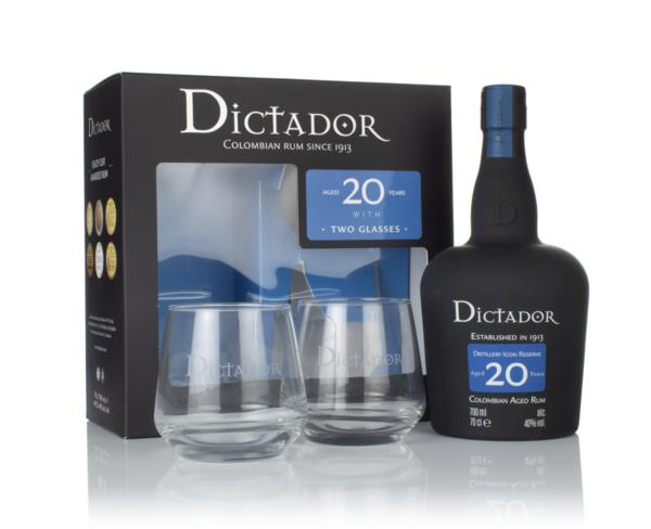 Dictador 20 Year Old Gift Pack with 2x Glasses Dark Rum