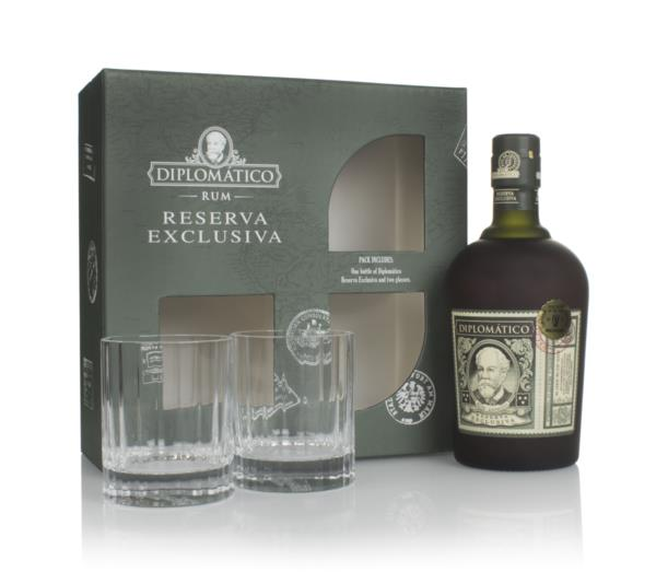 Diplomatico Reserva Exclusiva Gift Pack with 2x Rum Old Fashioned Glas Dark Rum