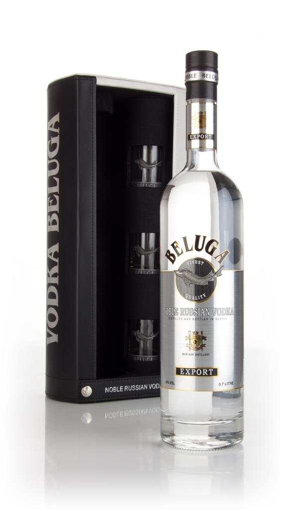 Beluga Noble Russian Vodka Gift Pack with 3x Glasses Plain Vodka