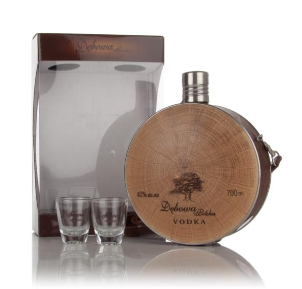 Debowa Polish Oak Vodka Hunter Flask with 2x Glasses Flavoured Vodka