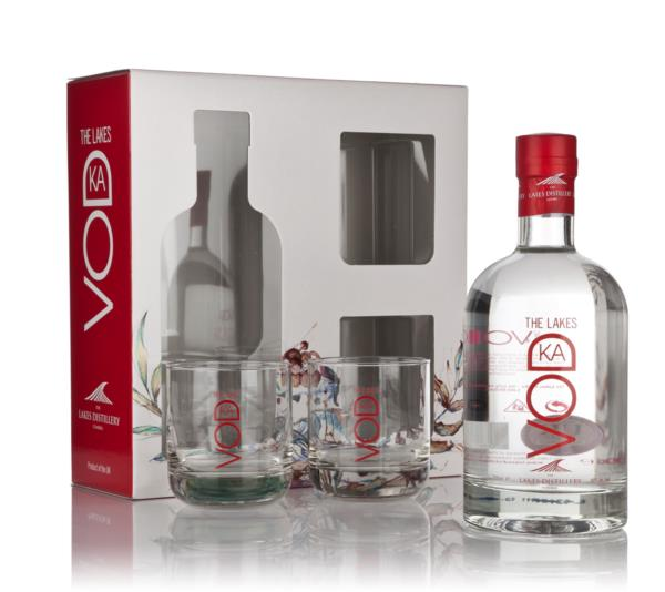 The Lakes Vodka Gift Pack with 2x Glasses Plain Vodka