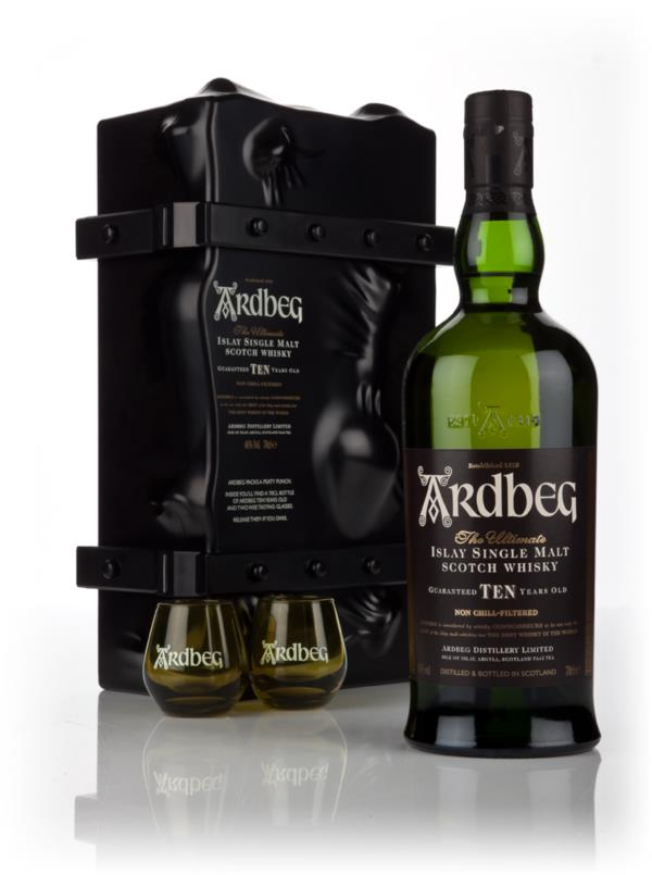 """Ardbeg 10 Year Old Escape Pack With 2 """"Shortie"""" Glasses Single Malt Whisky"""