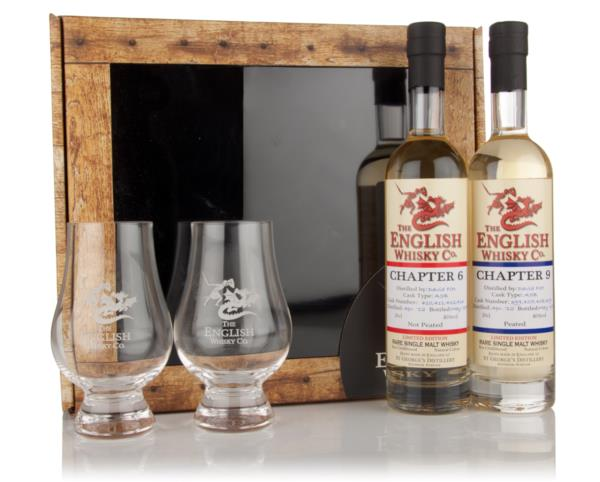 English Whisky Co. Gift Pack - Chapters 6 & 9 with 2x Glasses Single Malt Whisky