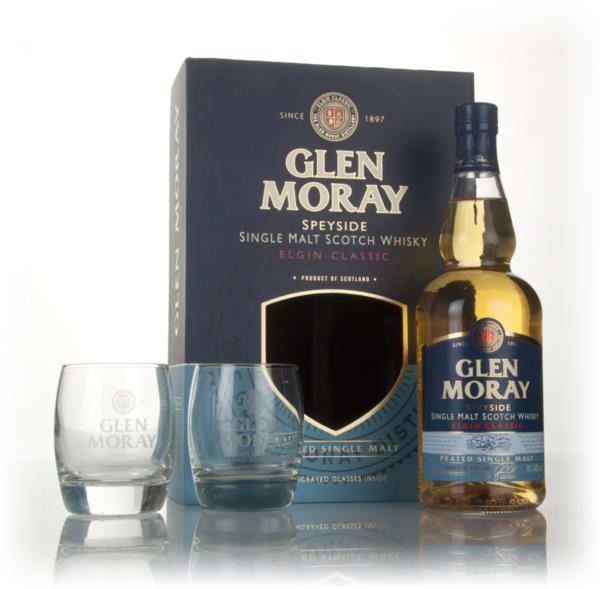 Glen Moray Classic Peated Gift Pack with 2x Glasses Single Malt Whisky