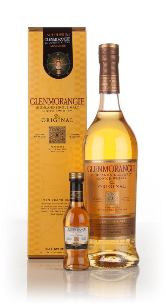 Glenmorangie 10 Year Old with a miniature of The Quinta Ruban 12 Year Single Malt Whisky