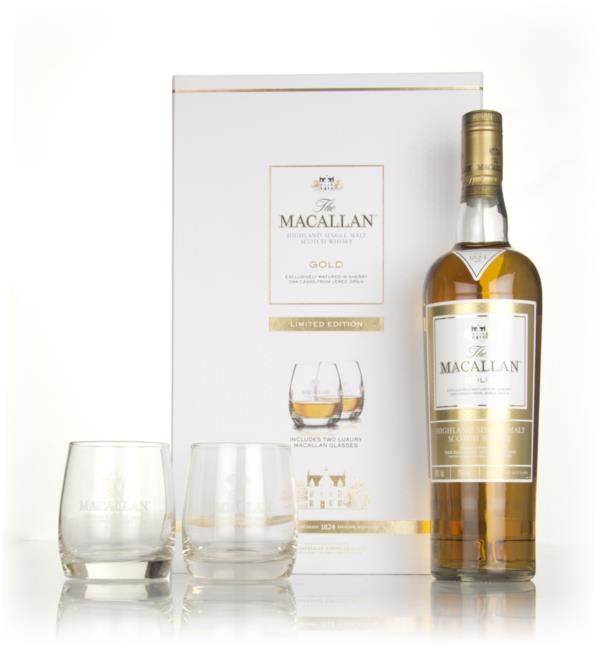 The Macallan Gold - 1824 Series Gift Pack with 2x Glasses Single Malt Whisky