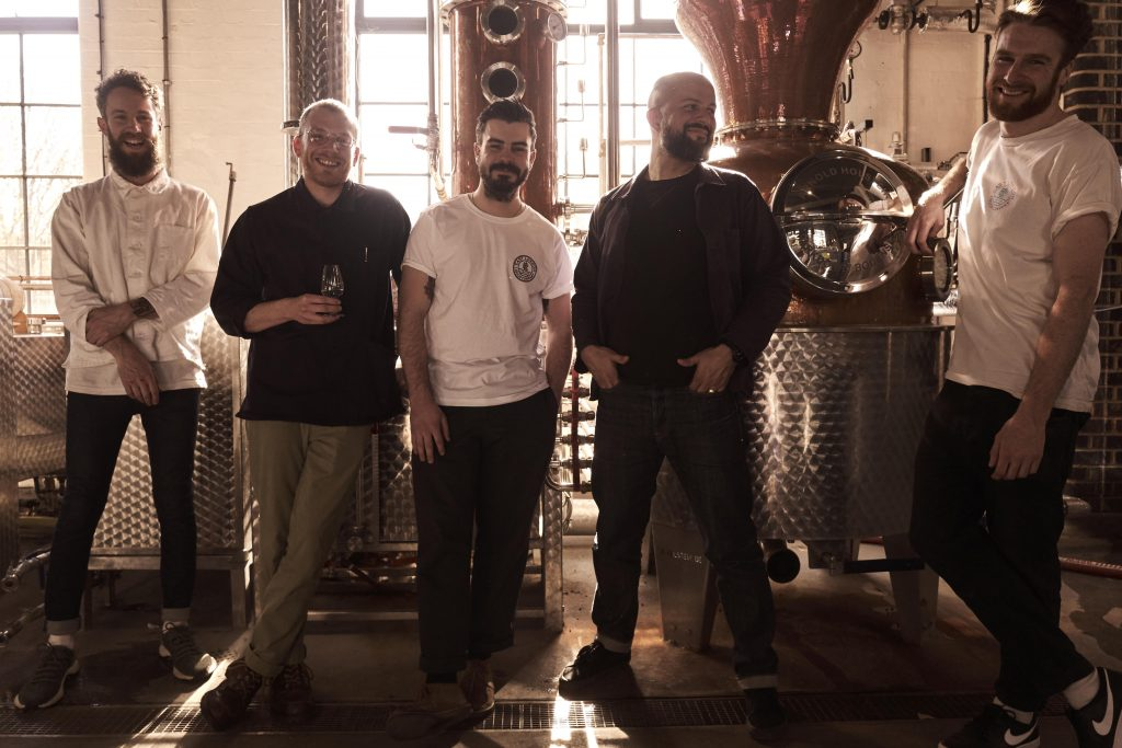 East London Liquor Company founder, Alex Wolpert, with distillery team