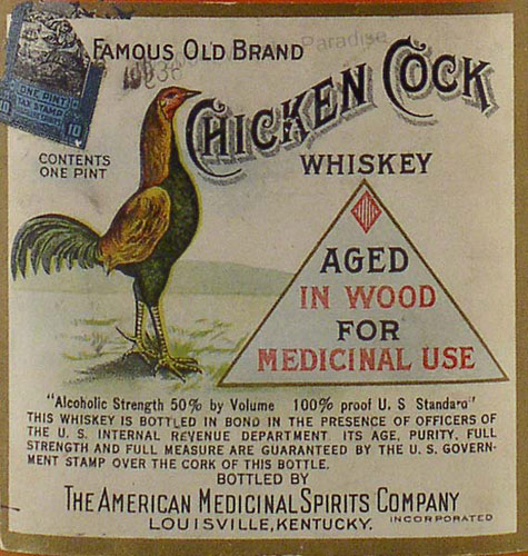 Old bottle of Chicken Cock whiskey