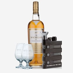 The Macallan Gold, two tasting glasses and The Macallan The Flask