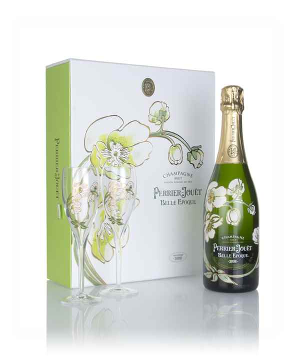 Perrier-Jouët 2008 Belle Epoque Gift Pack with 2 Champagne Flutes