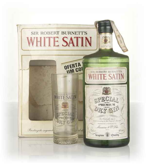 Burnett's White Satin London Gin Gift Pack with Glass (40%) - 1970s