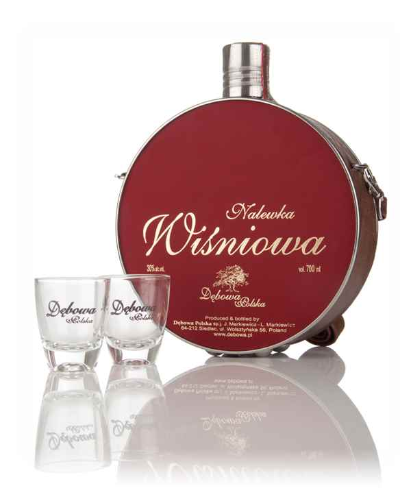Debowa Nalewka Wisniowa (Cherry Liqueur) Hunter Flask with 2x Glasses