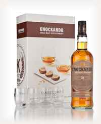 Knockando 21 Year Old 1990 - Classic Malts & Food Gift Set with 4x Glasses