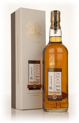 Bladnoch 23 Year Old 1990 (cask 3484) - Dimensions (Duncan Taylor)