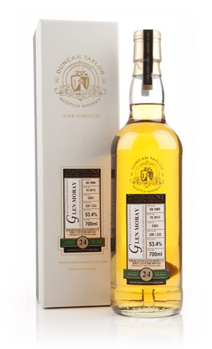 Glen Moray 24 Year Old 1989 (cask 5203) - Dimensions (Duncan Taylor)