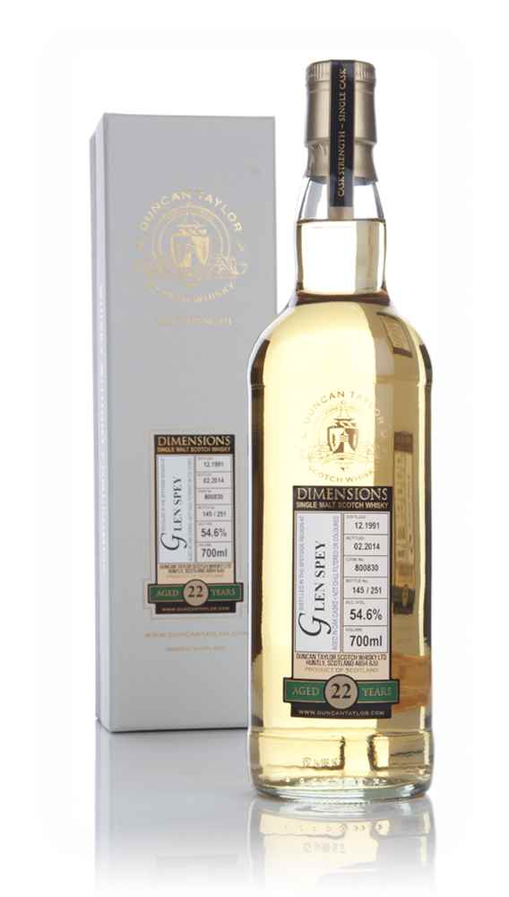 Glen Spey 22 Year Old 1991 (cask 800830) - Dimensions (Duncan Taylor)