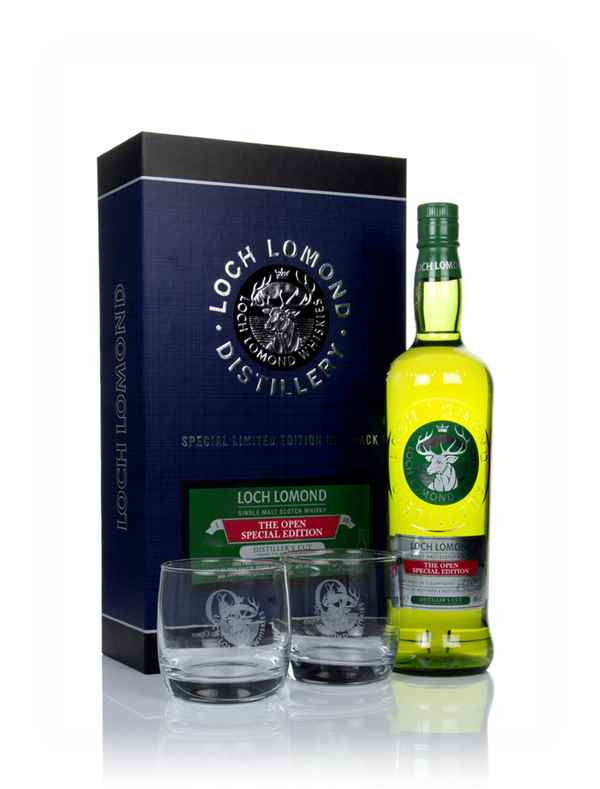 Loch Lomond The Open Special Edition Distiller's Cut Gift Pack with 2x Glasses